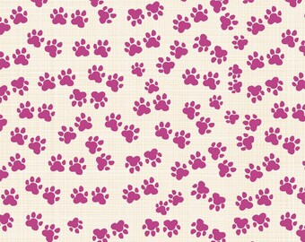 Cat Paws Fuchsia Organic Cotton Windham Fabrics #6632