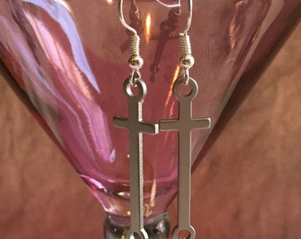 Silver cross earrings with dangle
