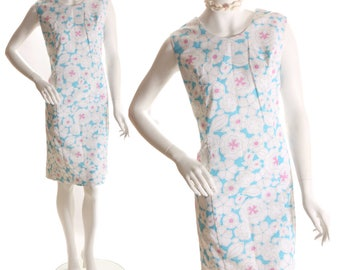 1960s Turquoise and Pink Floral Flower Print Shift Dress