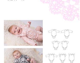 PDF- mönster Cutiepie body stl 50-92; Cutiepie onesie newborn - 18 months