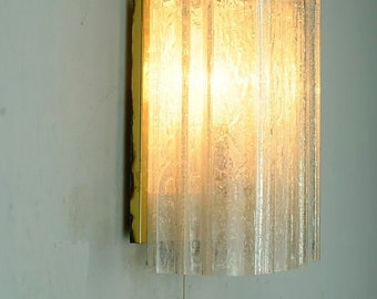 vintage 1960' 70's doria WALL LAMP with 2 ice glass shades