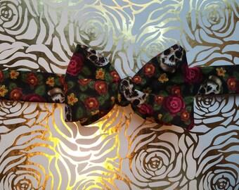Floral Skull Self-tie Bow Tie
