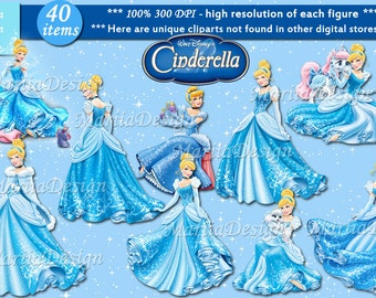 Cinderella Clipart - 40 PNG, 300 Dpi, Cinderella clip art, cinderella party printables, cinderella PNG, cinderella digital, Cinderella