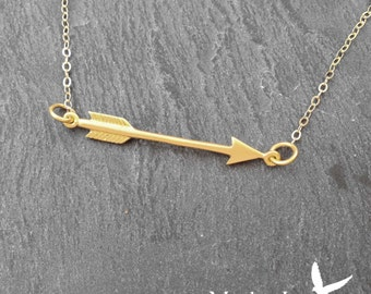 Gold Filled Arrow Necklace Small Gold Arrow Connector Necklace Archery