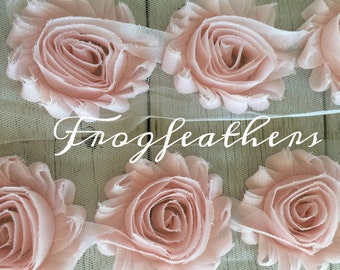 NEW BLUSH PINK Rose Trim on Net-2 1/2 inch- 1 yard