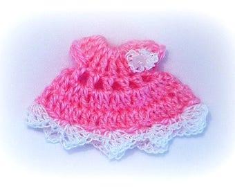 miniature pink wool crochet dress