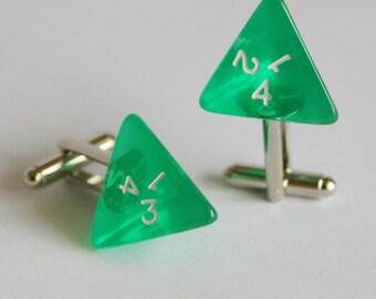 Transparent Green 4 Sided Dice Cufflinks d4 Free gift bag