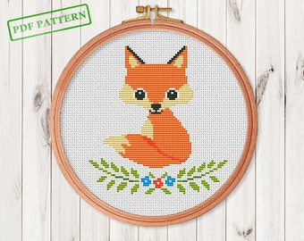 Fox Cross Stitch pattern Woodland Animal  Cross Stitch Forest Animals Cross Stitch Pattern Autumn Cross Stitch Design PDF Pattern