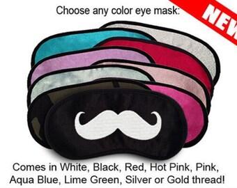 Mustache Custom Made Embroidered Eye Mask - favorite on pinterest tumblr instagram polyvore