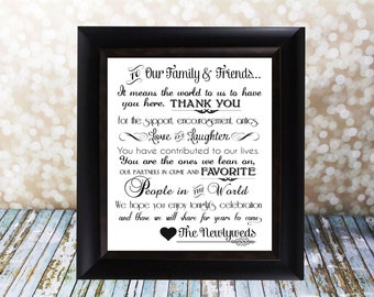 Wedding Thank You Card. Family and Friends Reception Table Card. Instant Download, DIY Printable. From the Newlyweds.