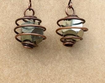 Pyrite Gemstone Cage Earrings