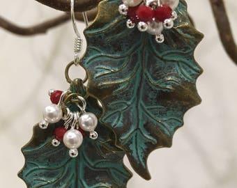 Brass patina leaf earrings