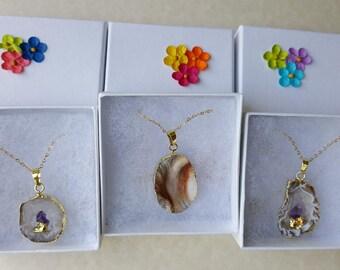 Geode necklace, Druzy necklace, Slice stone necklace,