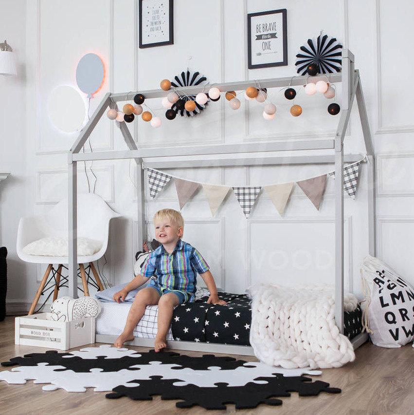 Cama del niño jugar casa marco niños cama cucheta cama casa