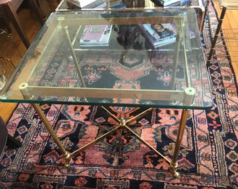Hollywood Regency Rams Hoof Polished Brass and Steel Side End Table Occasional Table Labarge Maison Jansen