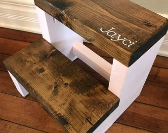 Personalized Rustic Step Stool / Rustic Kids Step Stool / Kid Step Stool / Toddler Step Stool / Wooden Step Stool / Kitchen Step Stool