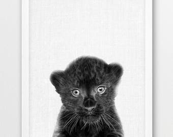 Panther Print, Cute Panther Cub Photo, Jungle Animals Black White Animal Photography, Baby Shower Nursery Gift,Kids Room Printable Art Decor