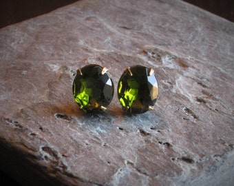 Olivine stud earrings, green jewel post earrings, estate style earrings, bridal earrings, holiday gift ideas, gift ideas for her