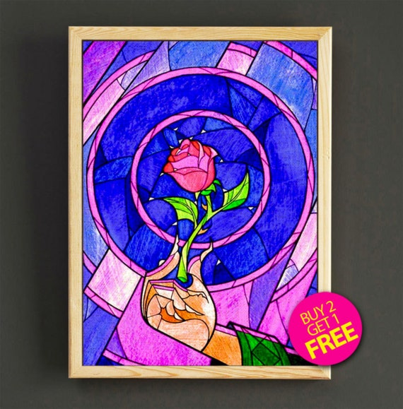 beauty and the beast print stained glass rose poster cursed. Black Bedroom Furniture Sets. Home Design Ideas