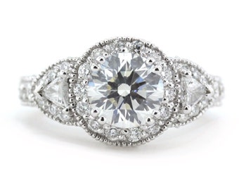 Three Stone Moissanite Engagement Ring Diamond Ring Trillion Side Stones - Lauren