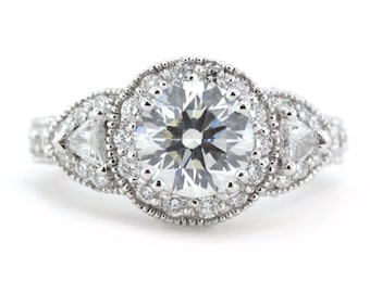 Trois pierre Moissanite bague de fiançailles diamant bague Trillion côté pierres - Lauren