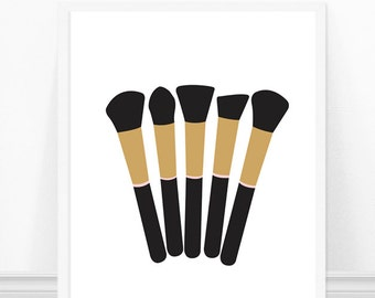 Makeup Brushes Print - Makeup Brush Art Print - Fashion Print - Wall Art