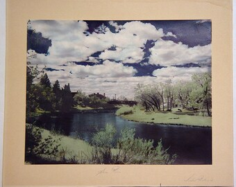 Vintage 1946 Michael Proskurniak Hand-Tinted Infrared Photo Swan River, Manitoba, Canada