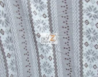 "Print Polar Fleece Fabric - Aztec Stripes Gray/Brown - Sold By The Yard 60"" Width (940)"