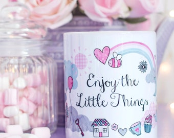 Pastel Quote Mug - Enjoy The Little Things Collection - Cute Illustration