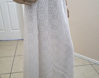 Vintage 1970's Pure White Lace Prairie Skirt by Carefree Fashions of Scottsdale BoHo, Hippie, Cowgirl, Rockabilly