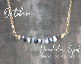 Dendritic Opal Necklace, Wife Gift for Her, Dendritic Agate Necklace, Gemstone Jewelry, Delicate Necklace, October Birthstone, Crown Chakra