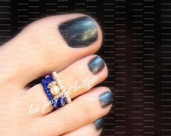Stacking Toe Ring, Stacking Rings, Cobalt Blue Beads, Silver Beads, Pearl Toe Ring, Pearl Ring, Silver Toe Ring, Stretch Bead Toe Ring