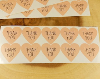 Pink Heart Thank You Stickers, 30 Stickers, Thank You Stickers, Pink Hearts, Wedding Favour Pink Seals, Boho Wedding, Heart Stickers
