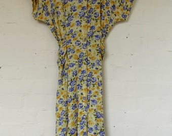 Stunning yellow and lilac floral day dress by Charlotte Halton- size 10/12