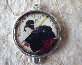 Charm cabochon, geisha, Japan, 2, 5 cm in diameter