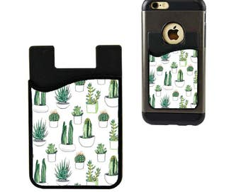 Cell Phone Caddy/Cell Phone Wallet/Monogram Card Holder/Credit Card Holder/Cell Phone Pocket/Student ID Holder/Custom Card Holder/Cactus