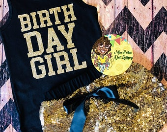 Birthday Girl sequined Shorts and Tank Set Size 6 Birthday Girl Outfit