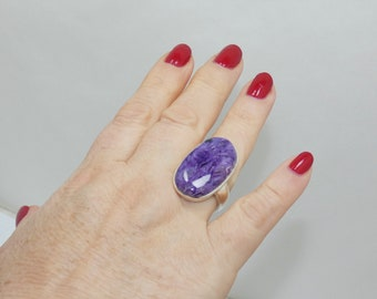 Natural Charoite  Sterling Silver Ring