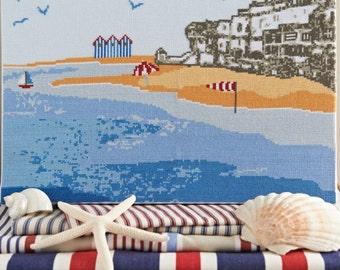 Cross stitch pattern COASTAL - embroidery pattern,needlepoint,embroidery patterns,cross stitch,anette eriksson,beach,blue,swedish,nautical