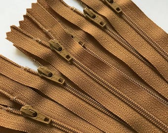 YKK 3mm Coil Zippers- 10pcs- 22 Inch- 508 Golden Brown- All Purpose Zips- Limited Stock