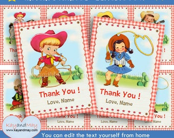 Cowgirl tags - Western girls favor tags - printable Thank You party favors  INSTANT DOWNLOAD #P-30-A cowgirls 1 - with editable text