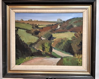 Geoff Ogden (1929-1997) original oil painting Cornish landscape listed English artist Mother Wife Father Husband peaceful ART GIFT