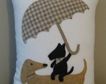 Dog Friends Pillow Dachshund / Weiner Dog  Scottish Terrier Pals Whimsical Pillow Hand Stitched Applique