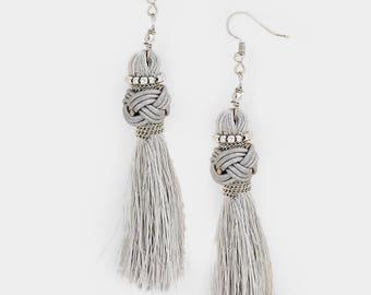 Knot Tassel Earrings - Gray/Rhodium