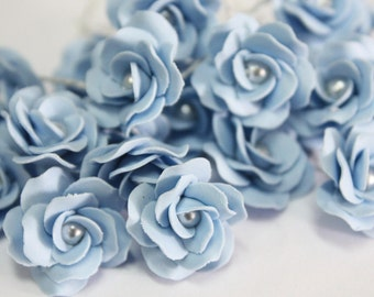 Miniature Roses Handcrafted Clay with Pearl bead, 12 pcs., Sugar Blue