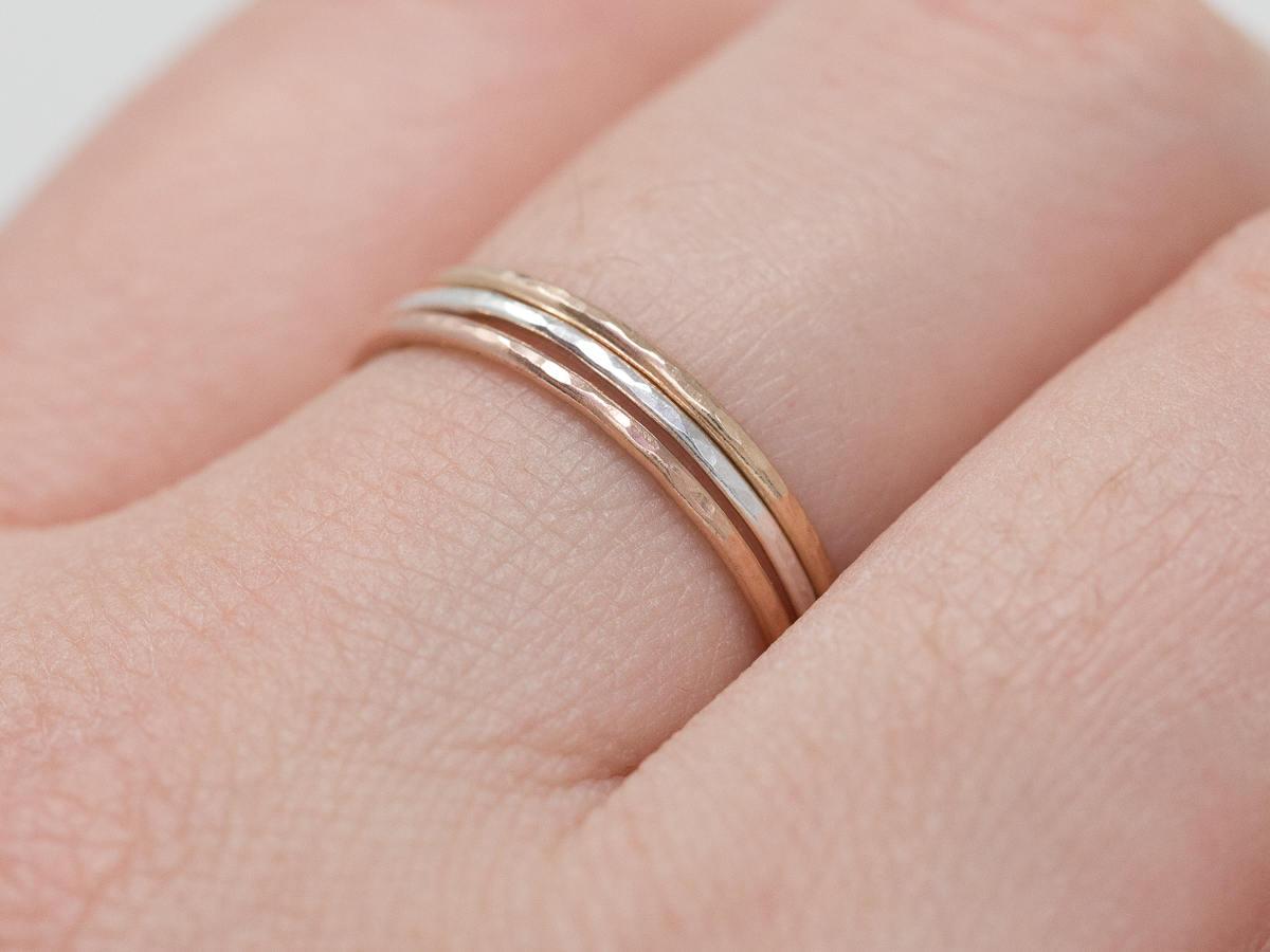 Handmade Ring SetSterling Silver Gold Filled Ring SetRose