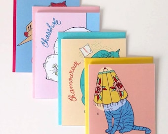 Set of four greeting cards, Cat series with assorted enveloppes, word play, no text inside, digital print