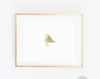 Fly Fishing Art, Fishing illustration, nursery art, fish illustration, gift for boyfriend, watercolor print, Fathers Day, wall art, Boy Gift