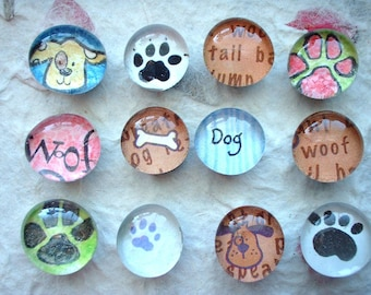 Dog Theme Glass Fridge Magnets