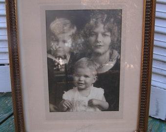 Vintage Orante Gold Metal Picture Frame with Black and White Picture of Mother Children